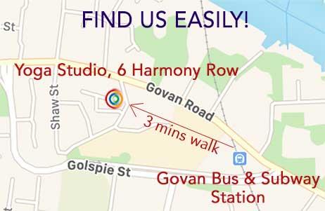 Map of yoga studio in Govan, Glasgow